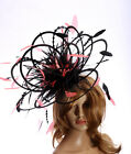 NEW Large Black & Coral Pink Fascinator hat/choose any colour satin/ feathers
