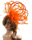 NEW Large Orange Fascinator hat highlight/choose any colour satin/feathers