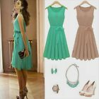 Summer Hot Casual Women Pleated Chiffon Bow Belt Sleeveless Skirt Vest Dress