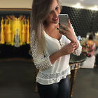 Casual Womens White Hollow Out Organza V Neck Half Sleeve Shirt Tops Blouse