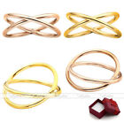 "Fashion Women Lady Stainless Steel ""X"" Shape Criss Cross Simple Ring US5-9 Gift"