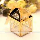 50Pcs Heart Magpie Laser Cut Candy Gift Boxes With Ribbon Wedding Party Favors