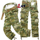 2015 New Mens Casual Military Camo Combat Work Pants Army Cargo Trousers + Belts