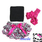 Halloween Black Hot Pink Bow Pirate Satin Bloomers Top Bow Headband 3pcs NB-24M