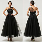 Women NEW Black Tulle Bridesmaid Formal Dress Evening Party Cocktail Long Dress