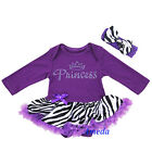 Baby Purple Zebra Rhinestone Princess Birthday Tutu Bodysuit Party Dress Romper