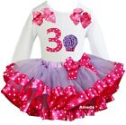 Lavender Hot Pink Satin Trimmed Tutu 3rd Cupcake Outfit Birthday Party Dress