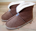 Ladies/Womens REAL SHEEPSKIN Slipper Boot Roll up/Down Cuff Light Brown