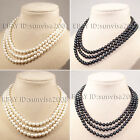Natural triple strand pearl necklace 7-8mm black white freshwater cultured 17""