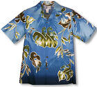 Watercolor Leaf Men's RJC aloha Shirt  made in Hawaii