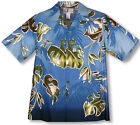 Watercolor Leaf Men's RJC aloha Shirt  made in Hawaii 109-926