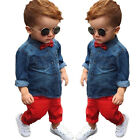 2pcs Kids Baby Boys Denim Shirt Tops + Long Pants Clothes Outfits Set With Bow