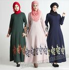 New Women Vintage Kaftan Abaya Jilbab Islamic Muslim Long Sleeve Maxi Dress