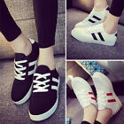 Ladies Women's Striped Lace Up Sport Running Sneakers canvas Trainers Shoes