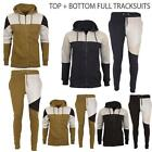 New Mens Full Top Bottom Hooded Sports Jogging Zip Up Contrast Tracksuits S - XL