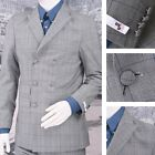 Get Up SLIGHT SECOND Double Breasted Slim Fit Prince of Wales Suit Blue