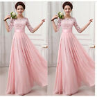 Long Chiffon Lace Evening Formal Party Ball Gown Women's Pink Bridesmaid Dress