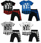 Boys Tartan Check Layer NYC T-Shirt Top & Drop Crotch Shorts Set 4 to 12 Years
