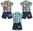 Boys 3 PIECE Motorbike Check Shirt Vest Top & Denim Look Shorts Set 2 - 10 Years