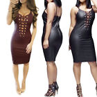 PU Leather Womens Bandage Bodycon Evening Party Cocktail Club Lace Up Mini Dress