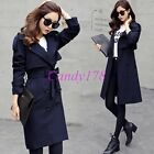 Fashion Casual Belts Slim Fit Trench British Double Breasted Overcoat Womens New