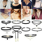 10 sets PU Leather Lace choker Charm Necklace Vintage Hippy Retro Black Cord UK