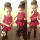 Kids Girls Leopard Leggings Suit Sleeveless Peplum Floral Shirts Tops 3-11Y B20E
