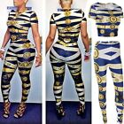 Women 2PC Set Bodycon Crop Top+Pant Print Bandage Jumpsuit Bodysuit Romper B20E