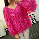 Womens Tassels Sequins Knitted Sweater Coats Jackest Outwear Tops Sexy 5 Color