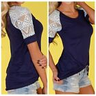 New Fashion Women Summer Sexy Lace Short Sleeve Top T-Shirt Loose Print Blouse