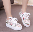 Fashion Women's flat Floral Sneakers Breathable Lace-up Casual Canvas Shoes Size