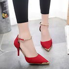 Women Pointed Toe Suede Buckle Strap stiletto High Heels Pumps wedding Shoes