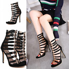 Women's High Heels Peep Toe Black Hollow Out Clubwear Stiletto Chic Shoes Sandal