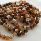 "Grade A Natural Banded Brown Agate Gemstone Round Beads 4, 6, 8, 10mm -16""strand"