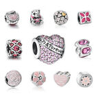 Jewelry Pink European charm Silver bead For S925 Bracelet/Necklace Chain CA