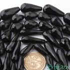 "Natural Black Agate Faceted Drop Gem Stone Beads Strand 15"" 10x30,10x20,13x18mm"