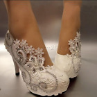 "3""/4"" white lace pearls crystal Wedding shoes Bridal shoes low heels pumps size"