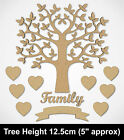 MDF Family Tree Set Kit with Tree Hearts and Word - Wooden Craft Blank Shapes