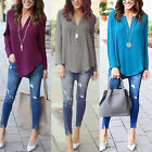 Women Chiffon Shirt Loose Long Sleeve V Neck Formal Casual Blouse T Shirt Tops