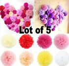"5 Pcs Tissue Paper Pom Poms Flower Balls Wedding Decoration 6"" 8"" 10"" 12"" 14"""