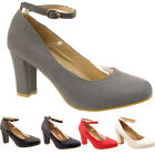 New Ladies Womens Formal Pumps Court Office  Faux Suede Block Heel Shoes Sizes