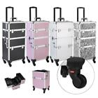 Pro 3 in1 Aluminum Rolling Makeup Cosmetic Train Case Wheeled Box 4 Color