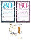 AGE 80 - 80th BIRTHDAY Party Invitations & Envelopes Boy Male Girl Female Invite