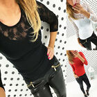 Fashion Women's Blouse Long Lace Sleeve Shirts Casual Summer T-shirt Top Clothes