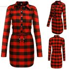 Lady Dress Tops Blouse T-shirt Women Long Sleeve Drawstring Plaid Shirt Dress