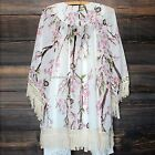 Women's Ladies Cardigan Casual 3/4 Sleeve Tassel Chiffon Floral Printed Top B20E