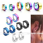 2pc Punk Mens Women Stainless Steel Hoop Huggies Ear Stud Earrings Gothic