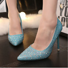 Women High Heels New Rhinestone Pointed Toe Stilettos Pumps Wedding Bridal Shoes