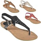 Women's Cutout T-Strap Thongs Slingback Strappy Roman Gladiator Flat Sandals