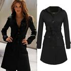 Finejo Women Single-breasted Solid Long Coat Outerwear Trench Parka with B20E